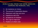 seven cultural forces that define americans hammond and morrison 1996