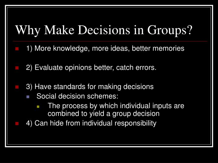 why do we make decisions Decision making problems often arise because you aren't clear whether you have a problem to solve or a decision to make we'll return to this later first though, what are some of the decision making problems we face why do we get so many decisions wrong.