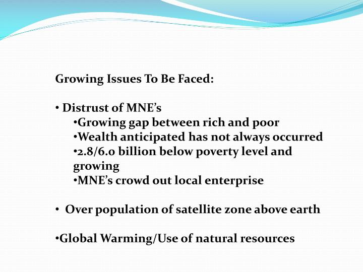 Growing Issues To Be Faced: