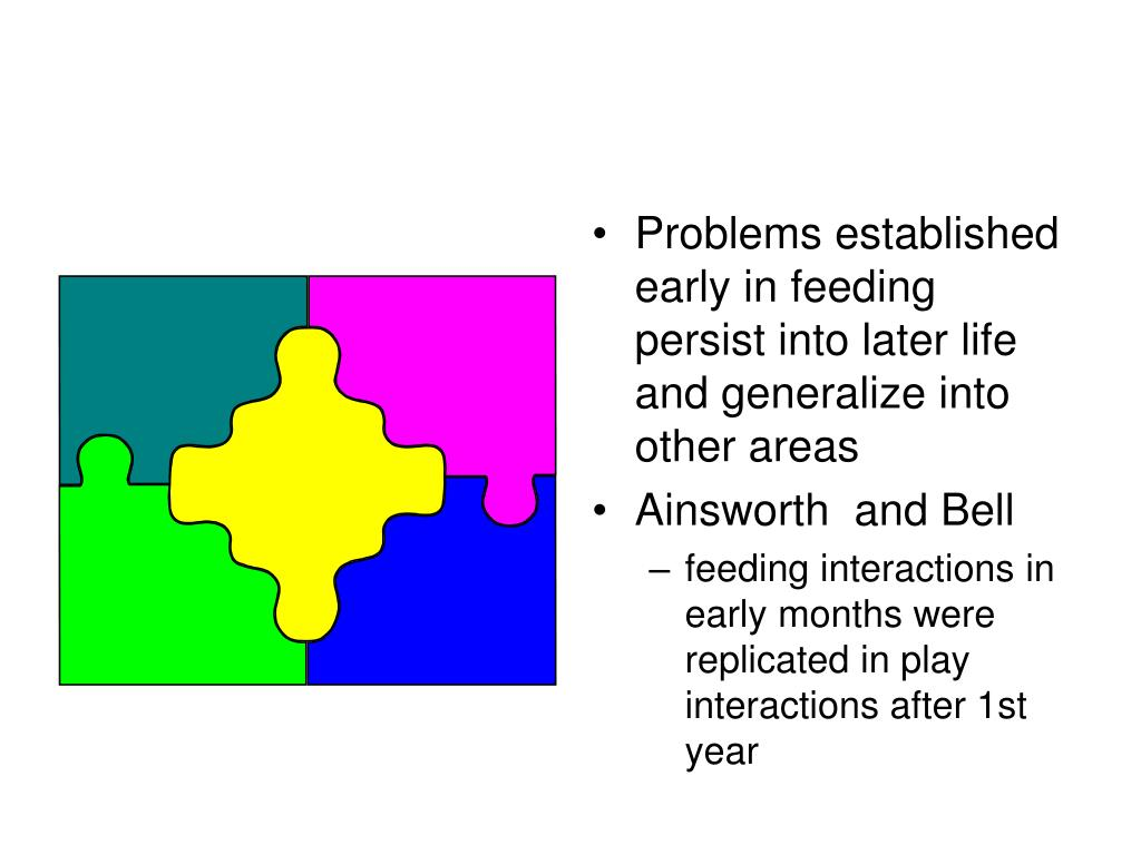 Problems established early in feeding persist into later life and generalize into other areas