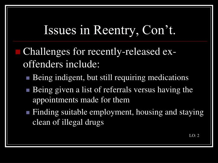 Issues in Reentry, Con't.