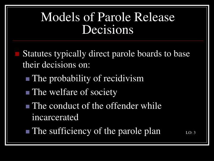 Models of Parole Release Decisions