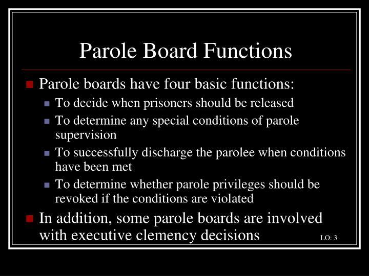 Parole Board Functions