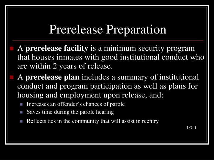 Prerelease Preparation