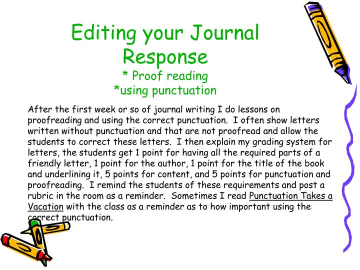 Editing your Journal Response