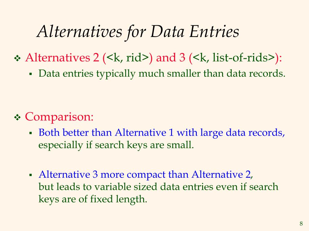Alternatives for Data Entries