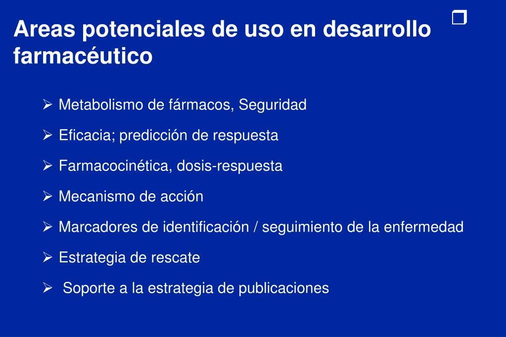 Areas potenciales de uso en desarrollo farmacéutico