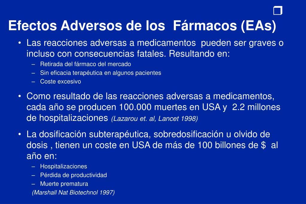 Efectos Adversos de los  Fármacos (EAs)