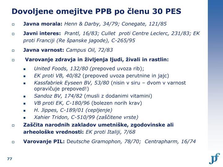 Dovoljene omejitve PPB po členu 30 PES