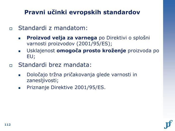 Pravni učinki evropskih standardov