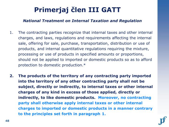 Primerjaj člen III GATT