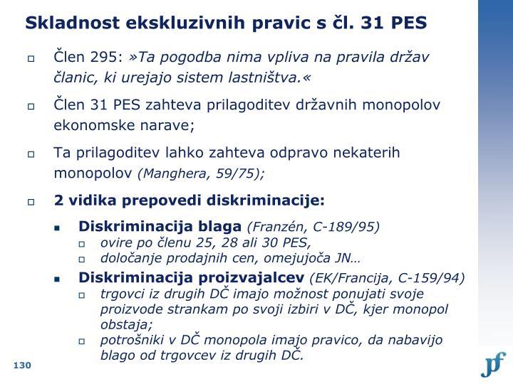 Skladnost ekskluzivnih pravic s čl. 31 PES