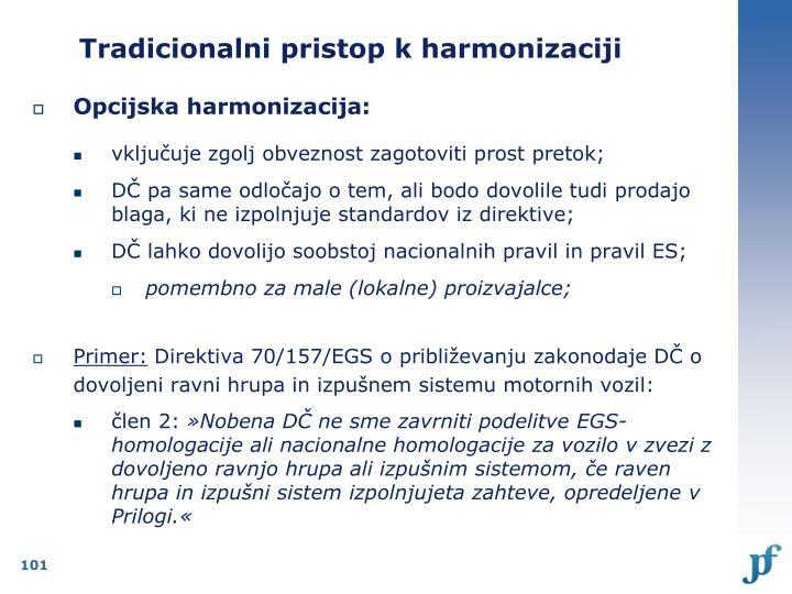 Tradicionalni pristop k harmonizaciji