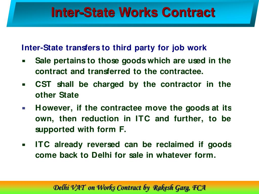 Inter-State Works Contract