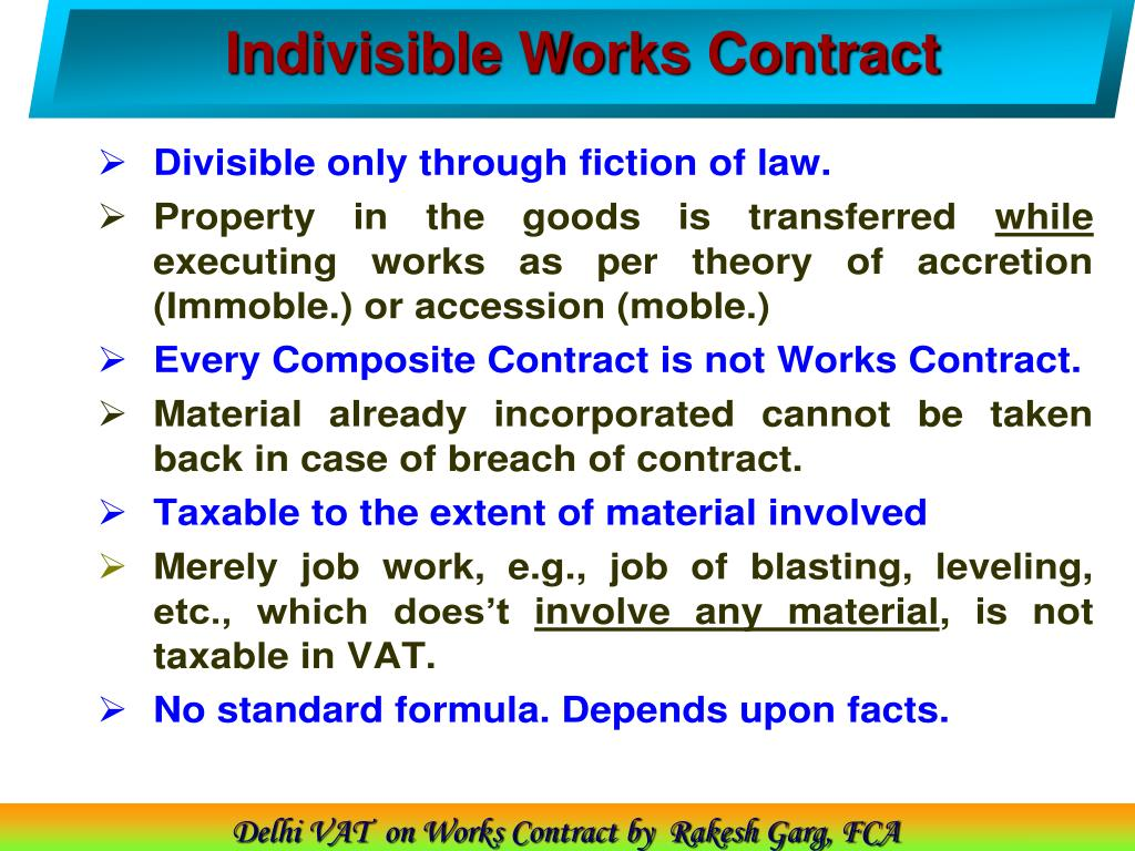 Indivisible Works Contract