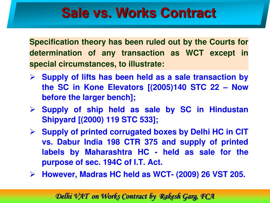 Sale vs. Works Contract
