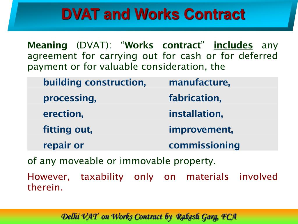 DVAT and Works Contract