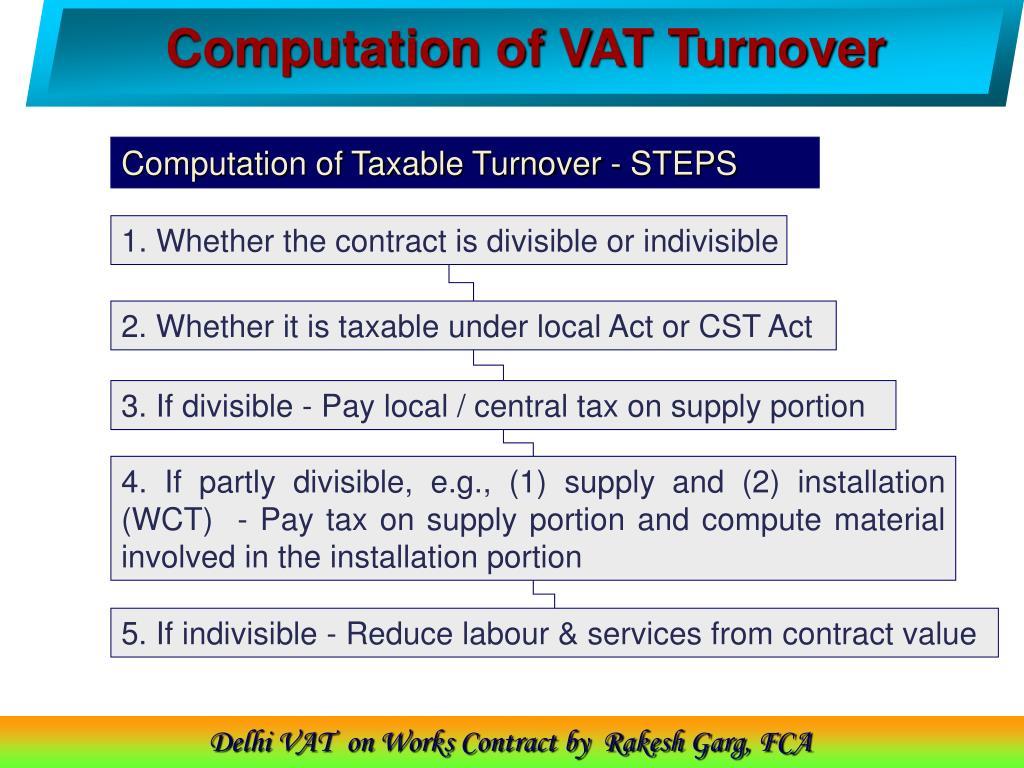 Computation of VAT Turnover