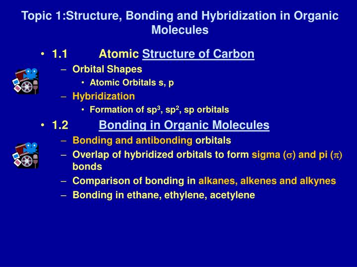 topic 1 structure bonding and hybridization in organic molecules n.