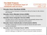the esaf projects to deliver foundation layer of standards and services