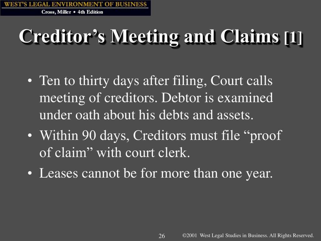 Creditor's Meeting and Claims