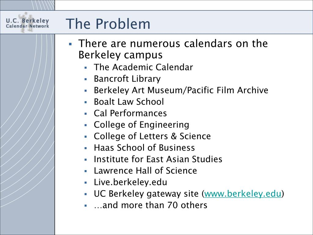 Berkeley Academic Calendar.Ppt U C Berkeley Calendar Network Final Masters Project
