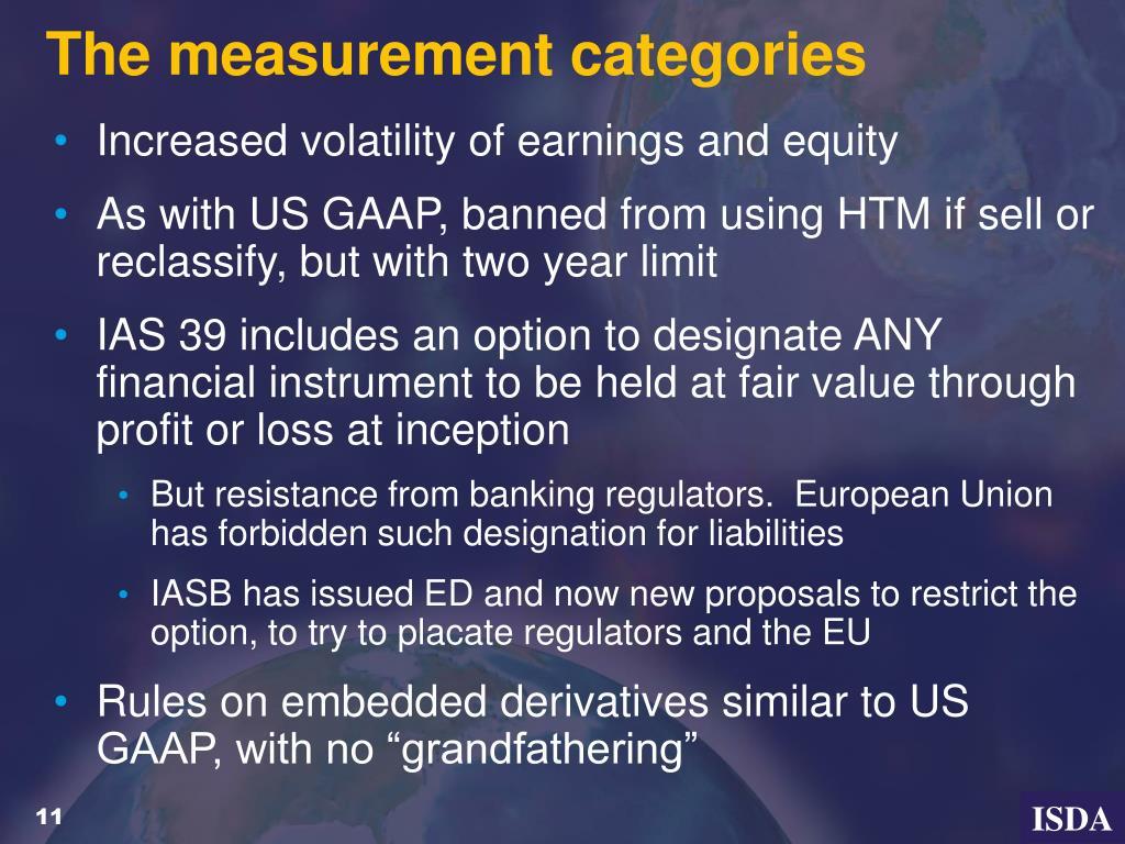 The measurement categories