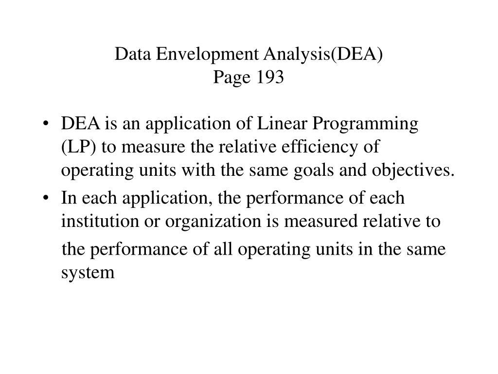 Data Envelopment Analysis(DEA)