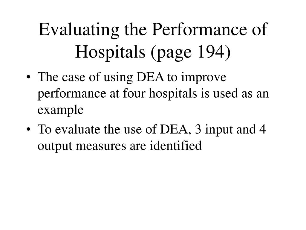 Evaluating the Performance of Hospitals (page 194)