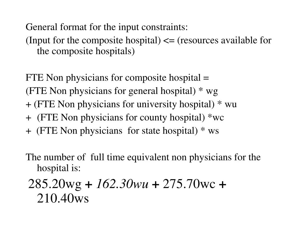 General format for the input constraints: