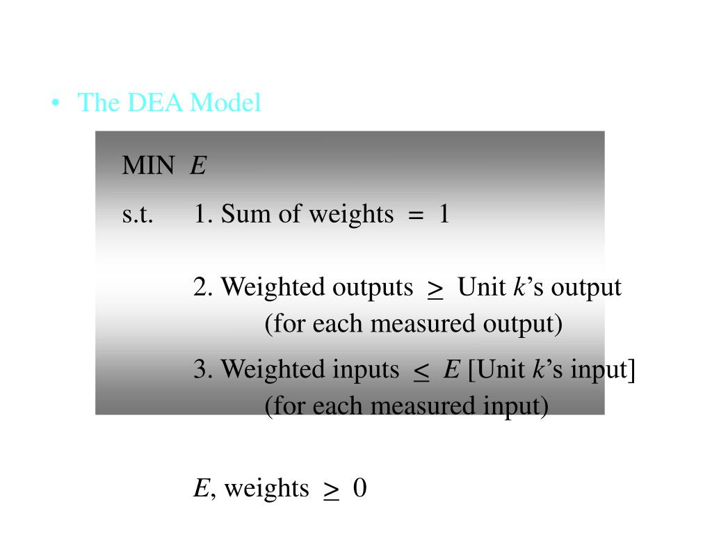 The DEA Model