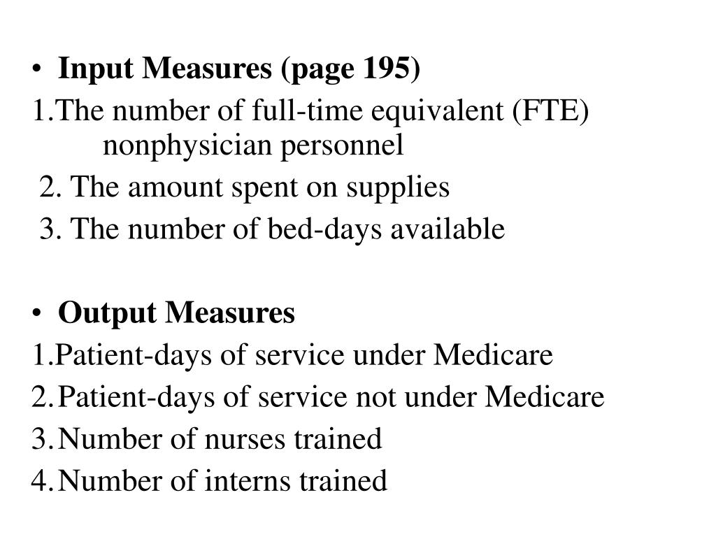 Input Measures (page 195)
