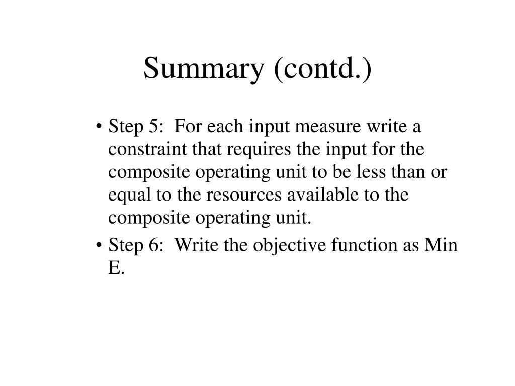 Summary (contd.)