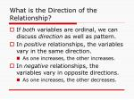what is the direction of the relationship