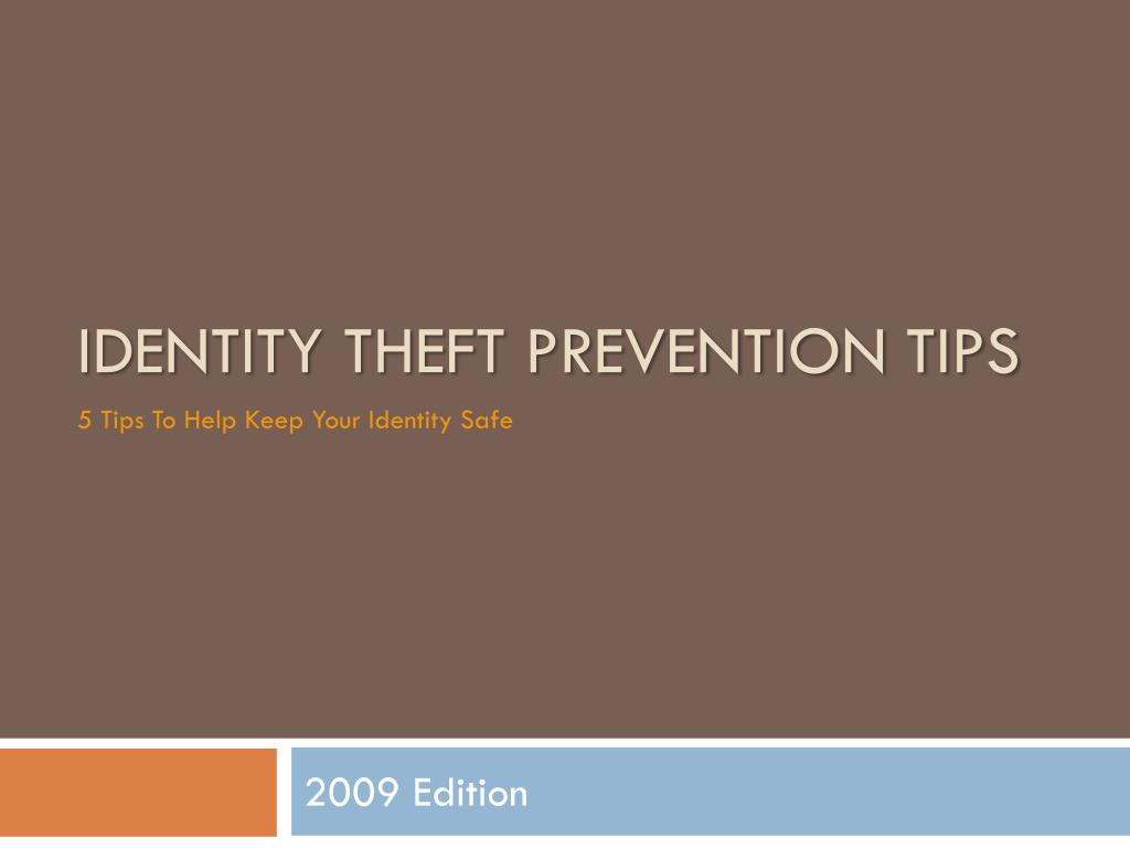 identity theft prevention tips l.