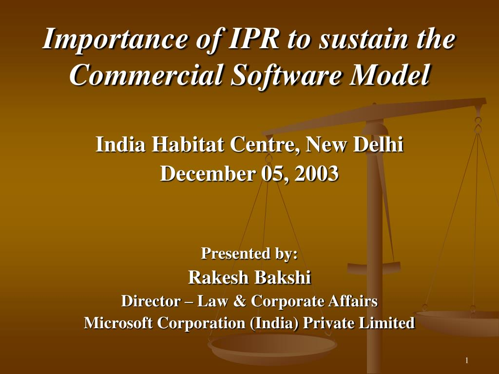 importance of ipr to sustain the commercial software model l.