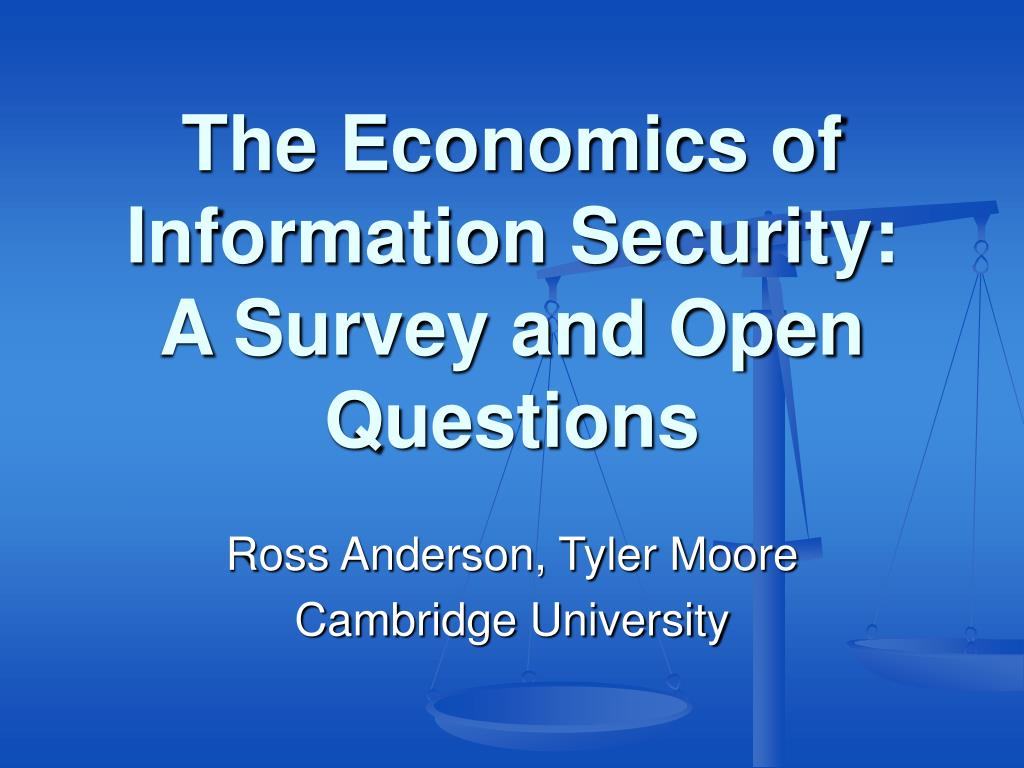 the economics of information security a survey and open questions l.