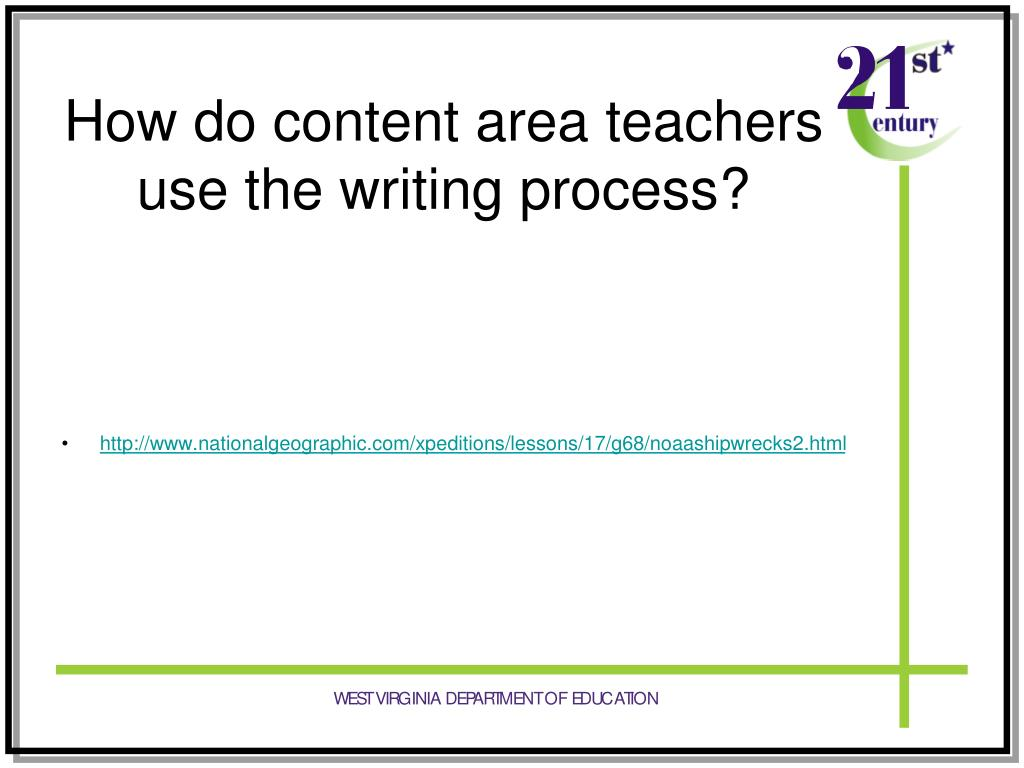 How do content area teachers use the writing process?
