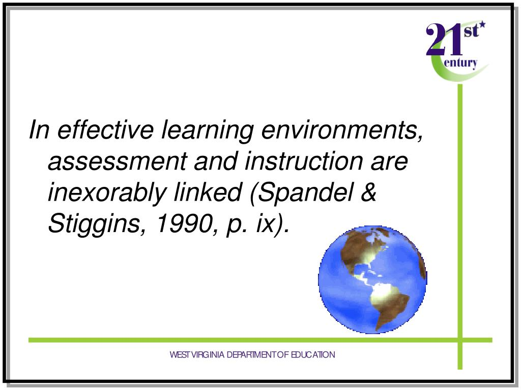 In effective learning environments, assessment and instruction are inexorably linked (Spandel & Stiggins, 1990, p. ix).