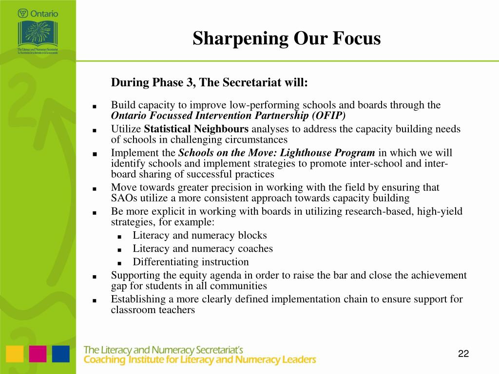 During Phase 3, The Secretariat will: