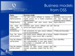 business models from oss