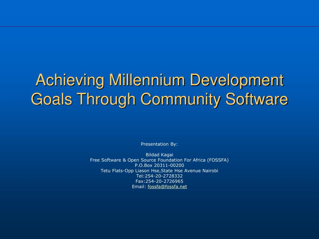 achieving millennium development goals through community software l.