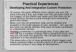 practical experiences developing and integration custom protection31