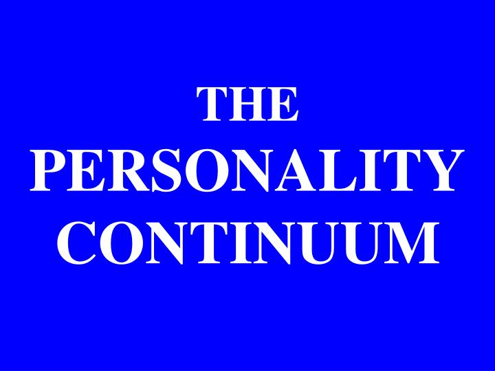 the personality continuum n.