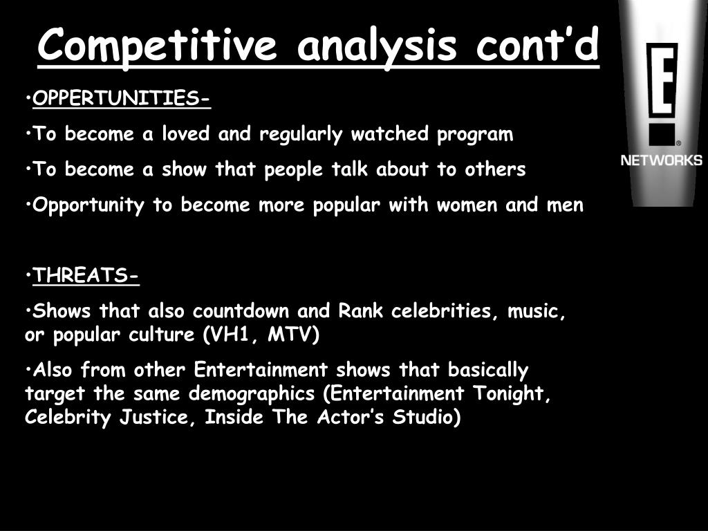 Competitive analysis cont'd
