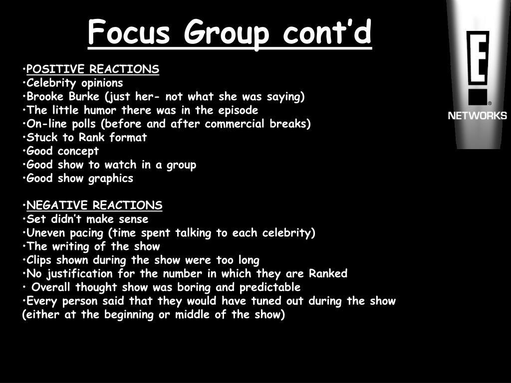 Focus Group cont'd