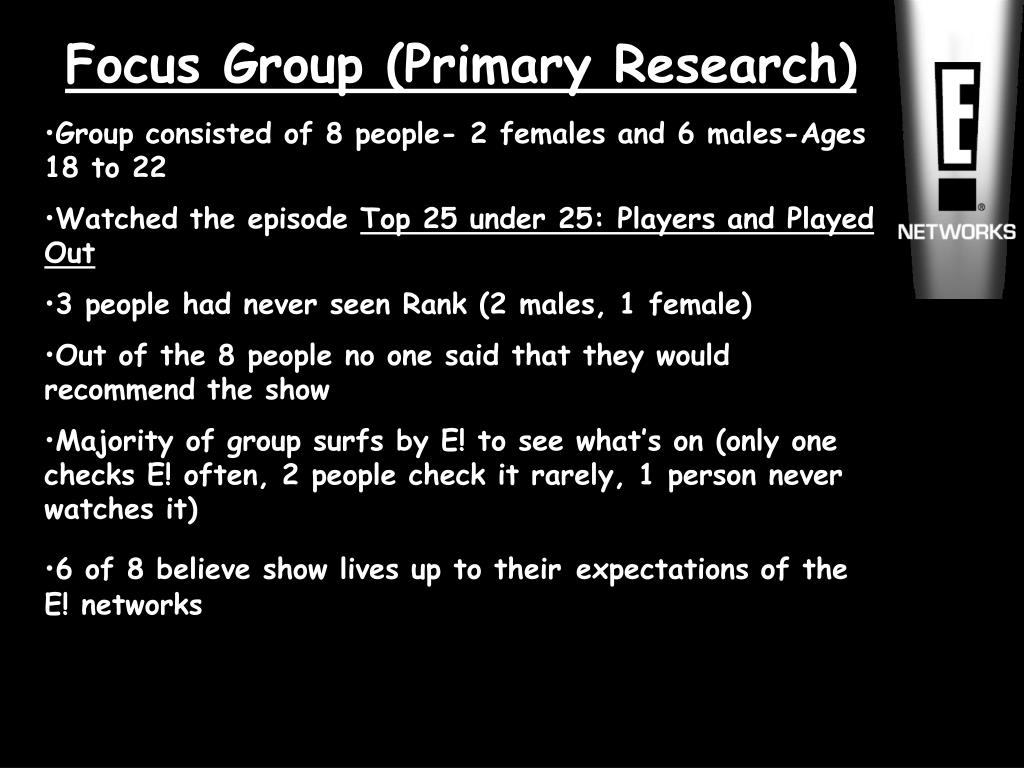 Focus Group (Primary Research)