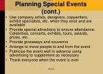 planning special events cont
