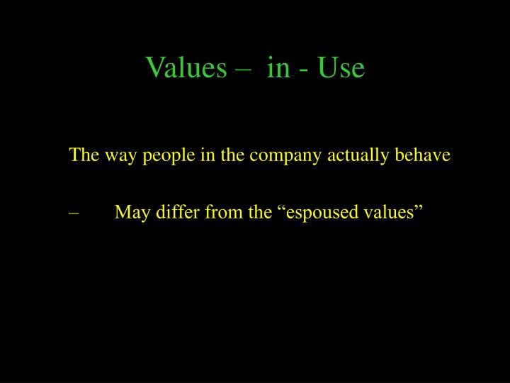 Values –  in - Use