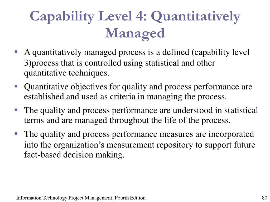 Capability Level 4: Quantitatively Managed